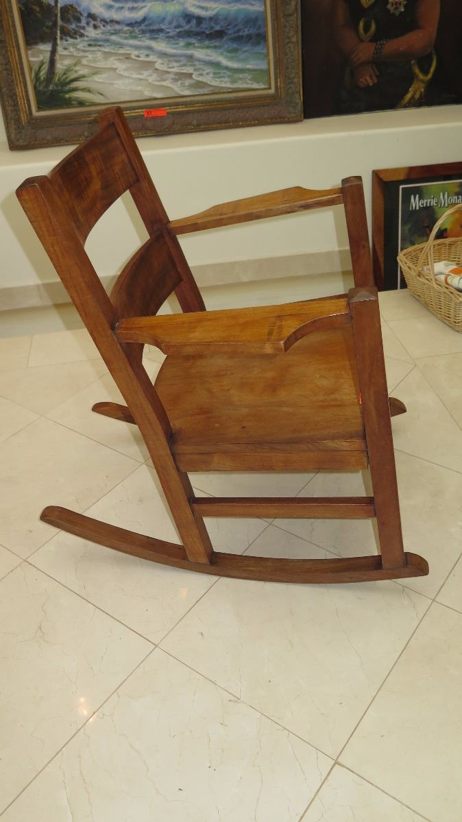 Curly Koa Rocking Chair - Approx. 27X33X34 - Oahu Auctions
