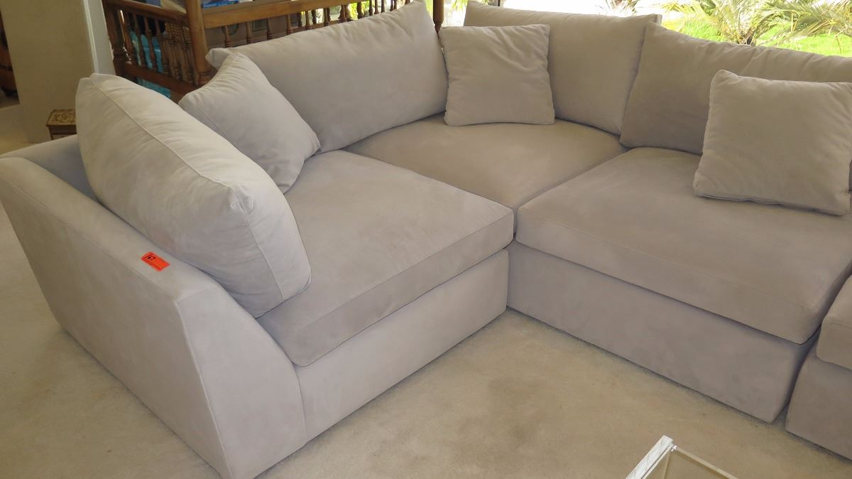 ... Image 3 : 5 Piece Pottery Barn Oversized Modular Sofa Sectional Set    Lt. ...