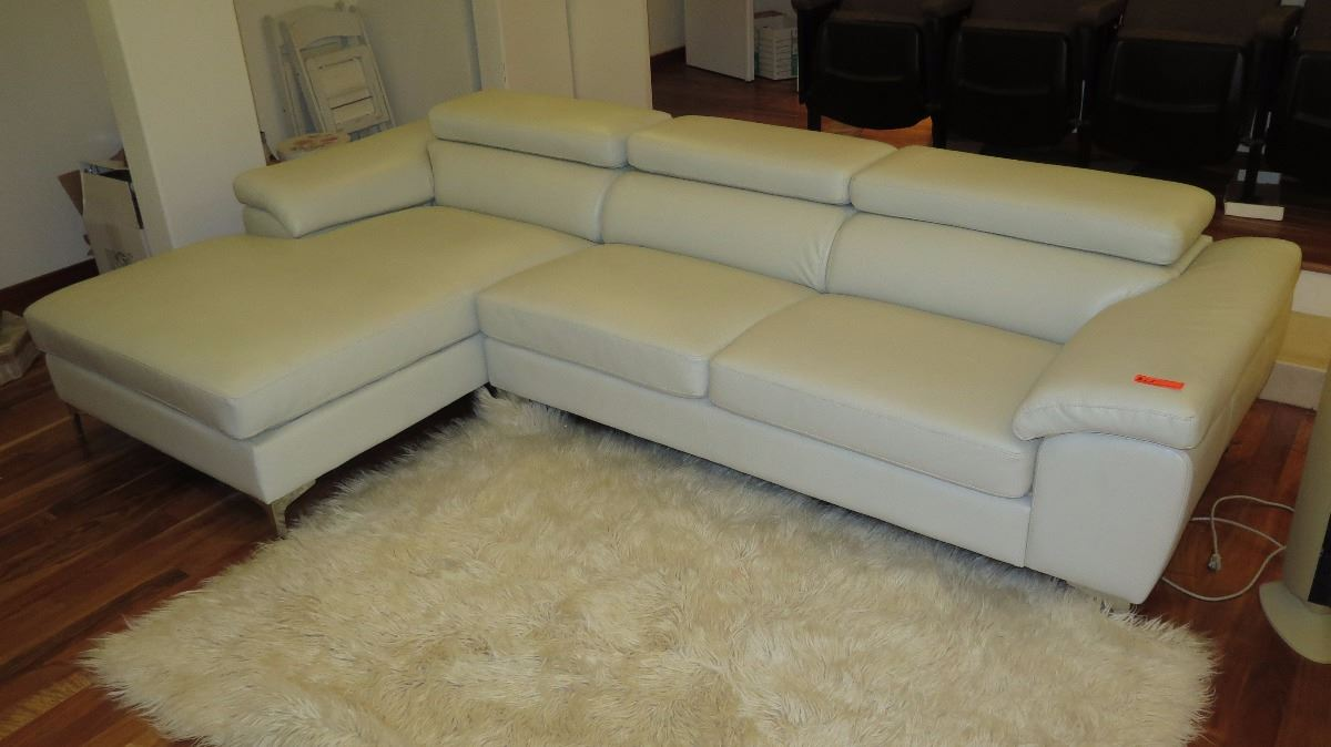 ... Image 2 : Modern 3-Piece Gray Leather Sofa Sectional w/Large Ottoman ...