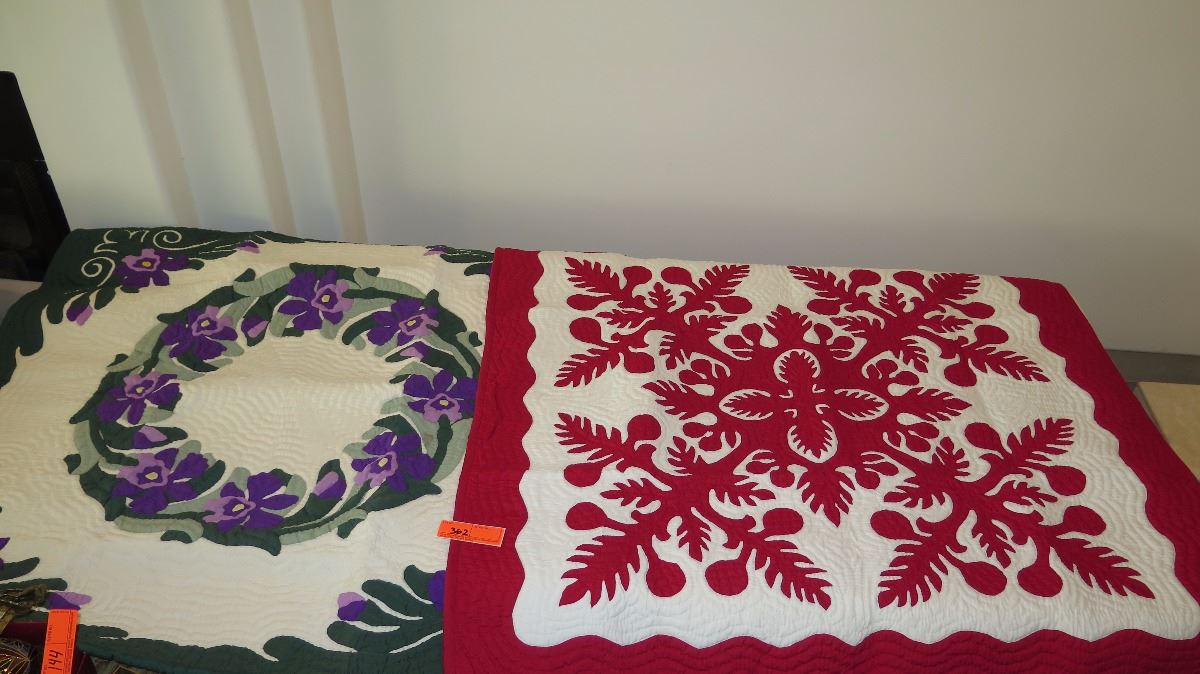 2 New Hand Stitched Hawaiian Pattern Quilt Blankets Red White And