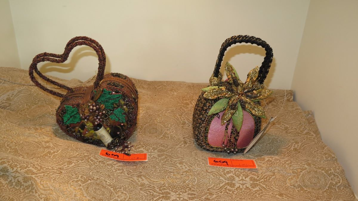 2 New Mary Frances Beaded Bags Heart Shaped And Pink Wgreen Gold
