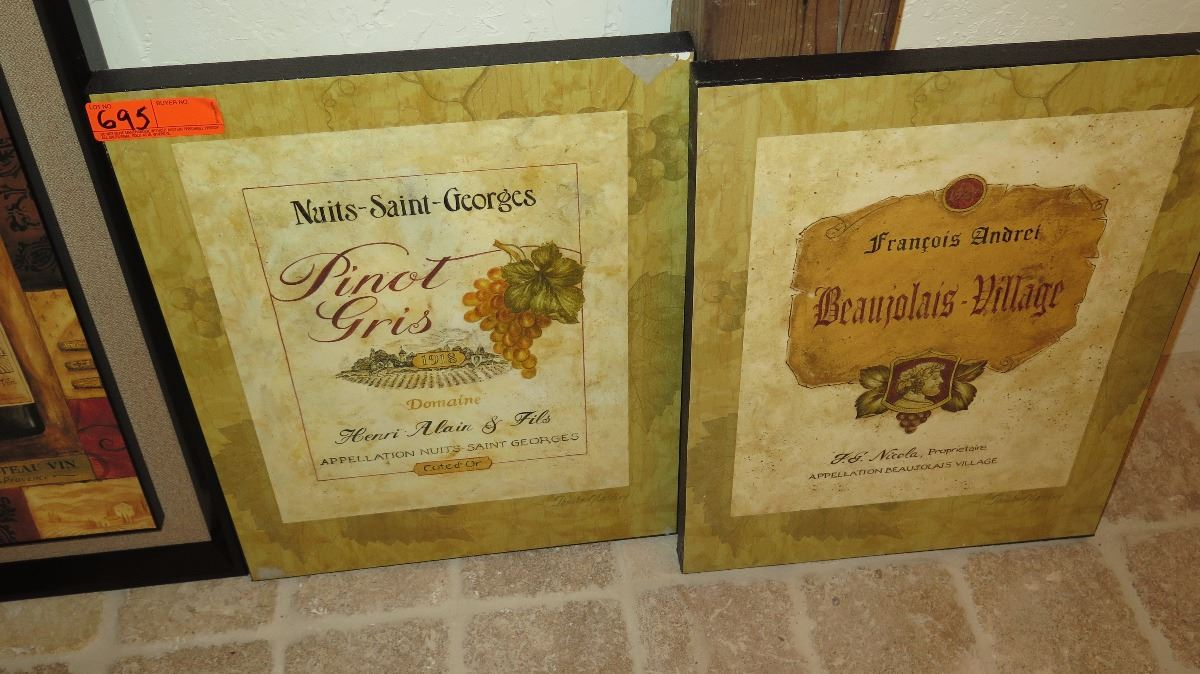Qty 4 Wine-Themed Wall Art - Oahu Auctions