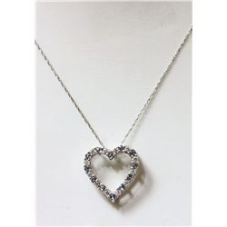#1-STERLING SILVER SIMULATED AQUAMARINE HEART