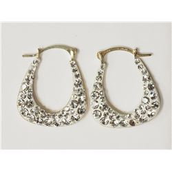 #2-YELLOW GOLD CUBIC CRYSTAL EARRINGS