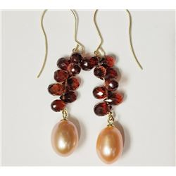 #3-14KT YELLOW GOLD GARNET & FW PINK PEARL
