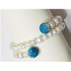 #6-FW PEARL BRACELET WITH CUBIC CRYSTAL BEADS