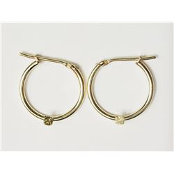 #7-10KT YELLOW GOLD DIAMOND HOOP EARRINGS