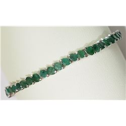 #8-STERLING SILVER EMERALD ADJUSTABLE BRACELET