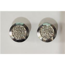 #12-STERLING SILVER DIAMOND EARRINGS