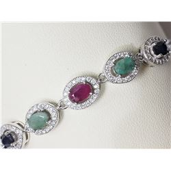 #15-STERLING SILVER SAPPHIRE,EMERALD,RUBY