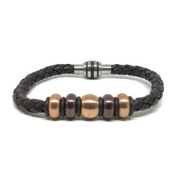 #18-MEN'S STAINLESS STEEL BROWN LEATHER