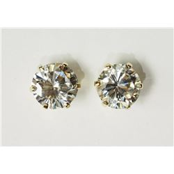#19-10KT YELLOW GOLD CUBIC ZIRCONIA EARRINGS