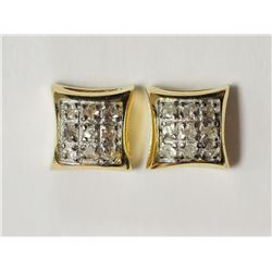 #21-SILVER & GOLD PLATED DIAMOND EARRINGS