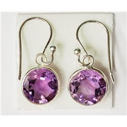 #22-STERLING SILVER AMETHYST EARRINGS