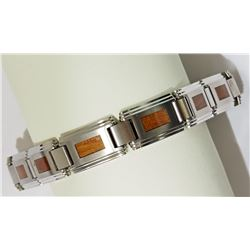 #25-STAINLESS STEEL WOOD INLAY BRACELET
