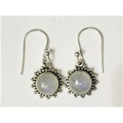 #28-STERLING SILVER WHITE OPAL EARRINGS