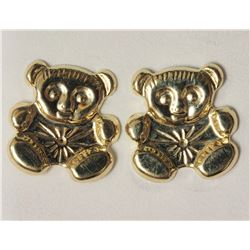 #34-14KT YELLOW GOLD TEDDY BEAR EARRINGS