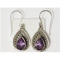 #42-STERLING SILVER AMETHYST EARRINGS
