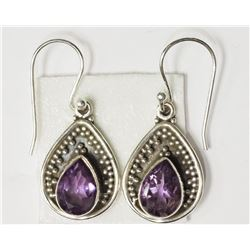 #47-STERLING SILVER AMETHYST EARRINGS