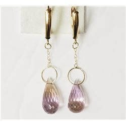 #48-10KT YELLOW GOLD QUARTZ EARRINGS