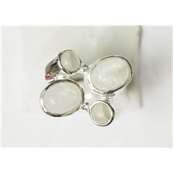 #49-STERLING SILVER RING WHITE OPAL