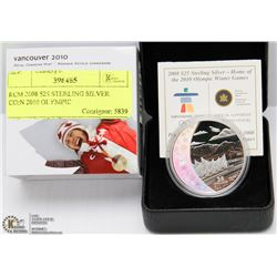 RCM 2008 $25 STERLING SILVER COIN 2010 OLYMPIC
