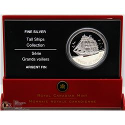 RCM TALL SHIPS 3 MASTER SHIP $20 SILVER COIN