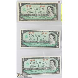 THREE 1867-1967 UNCIRCULATED CANADIAN $1 NOTES