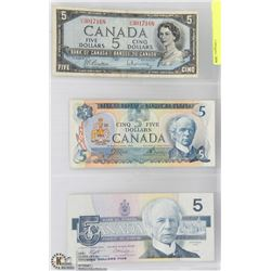 1954, 1976, AND 1986 CANADIAN $5 BANK NOTES