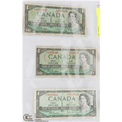 THREE 1954 CANADIAN $1 REPLACEMENT NOTES