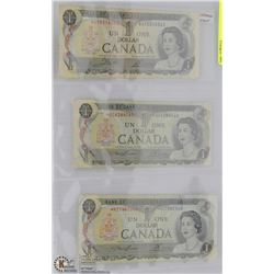 REPLACEMENT NOTE $1 1973 3 SET