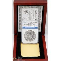 GRADED $1 US 2001 SILVER EAGLE COIN WITH COA IN