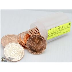 CONTAINER OF APPROX 19 FINE COPPER 1-OZ COINS