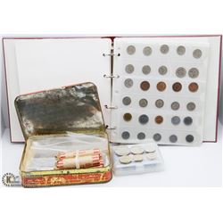 TIN AND BINDER WITH ASSORTED WORLD COINS