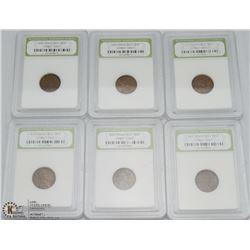 WHEAT CENT 6 SET SLABBED