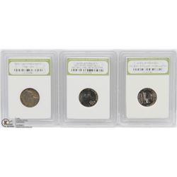 3 JEFFERSON NICKEL SET SLABBED