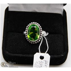 #120 GREEN PERIDOT GEMSTONE RING, SIZE 6