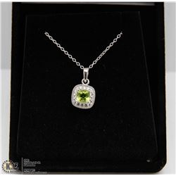 #125 GENUINE PERIDOT & CZ PENDANT NECKLACE