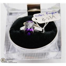 STERLING SILVER 925 RING WITH CUBIC PURPLE STONE