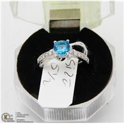 #99 BLUE TOPAZ & CZ RING .925 STERLING SILVER RING