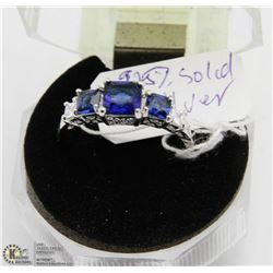 #102 BLUE SAPPHIRE & CZ RING .925 STERLING SILVER