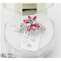 # 110 RUBY, EMERALD,CZ .925 STERLING SILVER RING