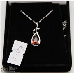 #132 GENUINE RED GARNET PENDANT NECKLACE