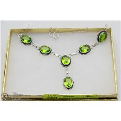 #112 GREEN PERIDOT .925 STERLING SILVER NECKLACE