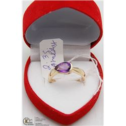 #142 GENUINE AMETHYST RING .925 STERLING SILVER