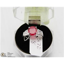 #90 RED RUBY & CZ.925 STERLING SILVER RING
