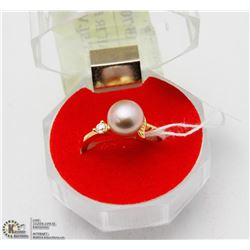 #75 FRESH WATER PEARL & CZ RING .925 STERLING SILV