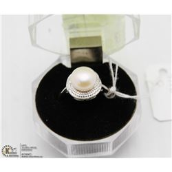 #85 AKOYA PEARL RING .925 STERLING SILVER