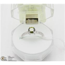 #96 PERIDOT & CZ .925 STERLING SILVER RING
