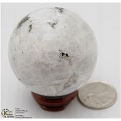 #5 NATURAL MOON STONE SPHERE BALL + STAND